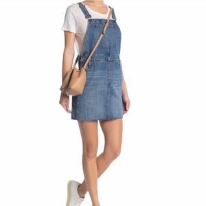 Madewell Raw Hem Blue Overall Dress Size 10